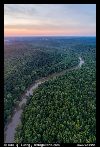 Aerial view of Green River at sunset. Mammoth Cave National Park (color)