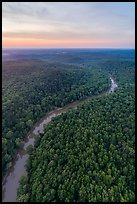 Aerial view of Green River at sunset. Mammoth Cave National Park ( color)