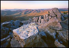 Pile of rectangular shape rocks on Black Rock summit, late afternoon. Shenandoah National Park, Virginia, USA. (color)