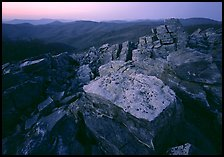 Rock slabs, Black Rock, dusk. Shenandoah National Park, Virginia, USA. (color)