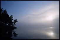 Sunrise and morning fog, Kabetogama lake near Woodenfrog. Voyageurs National Park, Minnesota, USA. (color)