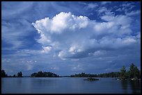 Bright cloud above Rainy lake. Voyageurs National Park, Minnesota, USA. (color)