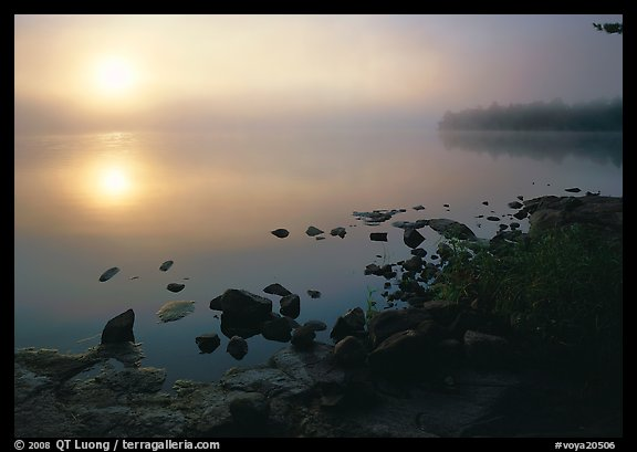 Sunrise and morning fog, Kabetogama lake near Woodenfrog. Voyageurs National Park (color)