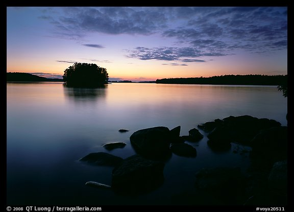 Kabetogama lake sunset with eroded granite and tree-covered islet. Voyageurs National Park (color)