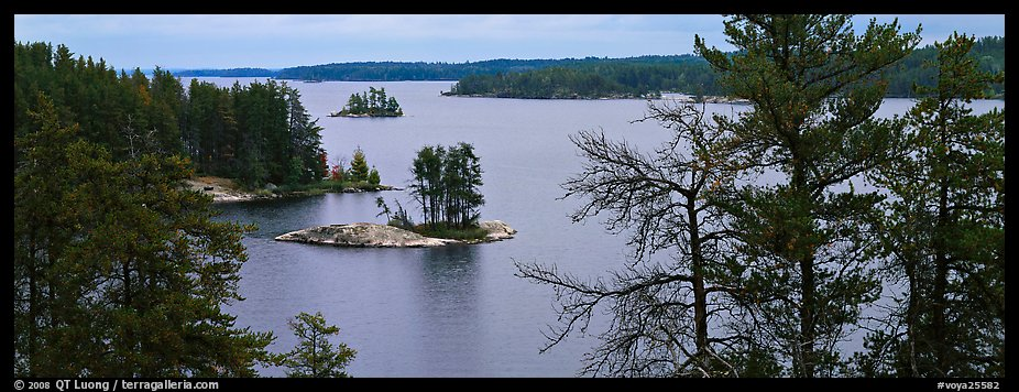 North woods lake scenery with tiny islets. Voyageurs National Park (color)