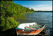 Boat on shore of Mukooda Lake. Voyageurs National Park ( color)