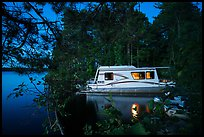 Houseboat at night, Houseboat Island, Sand Point Lake. Voyageurs National Park ( color)