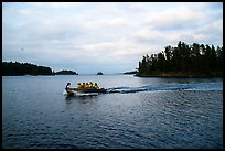 Group boating to shore, Anderson Bay. Voyageurs National Park ( color)
