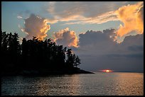 Sun setting below cloud, Rainy Lake. Voyageurs National Park ( color)