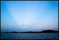 Anticrepuscular rays over Rainy Lake. Voyageurs National Park ( color)