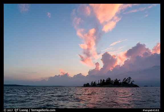 Islet and clouds at sunset, Rainy Lake. Voyageurs National Park (color)