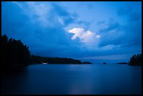 Anderson Bay at dusk, with lights of houseboat. Voyageurs National Park ( color)