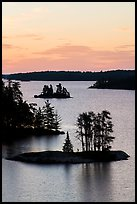 Islets and trees from above, Anderson Bay, sunrise. Voyageurs National Park ( color)