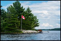 Islet with Canadian flag, Namakan Lake. Voyageurs National Park ( color)