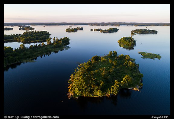 Aerial view of Chief Woodenfrog islands, Kabetogama Lake. Voyageurs National Park (color)
