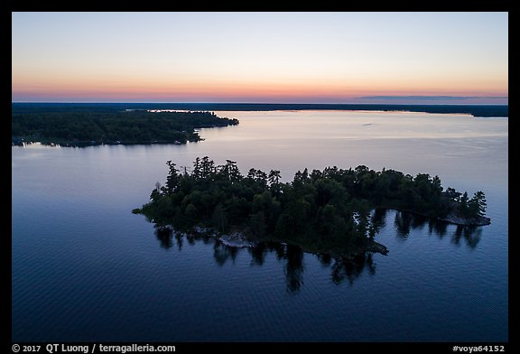Aerial view of Bittersweet Island at sunset, Kabetogama Lake. Voyageurs National Park (color)