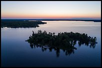 Aerial view of Bittersweet Island at sunset, Kabetogama Lake. Voyageurs National Park ( color)