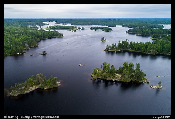 Aerial view of American Channel, Rainy Lake. Voyageurs National Park (color)
