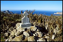 Monument commemorating Juan Rodriguez Cabrillo's landing on  island in 1542, San Miguel Island. Channel Islands National Park, California, USA. (color)