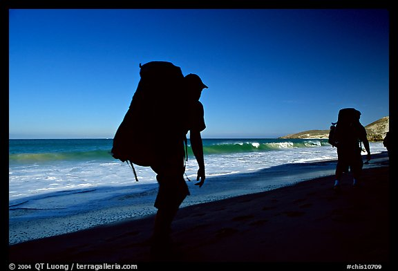Backpackers on beach, Cuyler harbor, San Miguel Island. Channel Islands National Park (color)