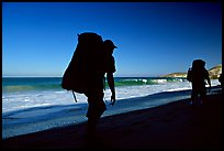 Backpackers on beach, Cuyler harbor, San Miguel Island. Channel Islands National Park, California, USA. (color)