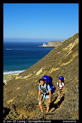 Backpackers in Nidever canyon , San Miguel Island. Channel Islands National Park (color)
