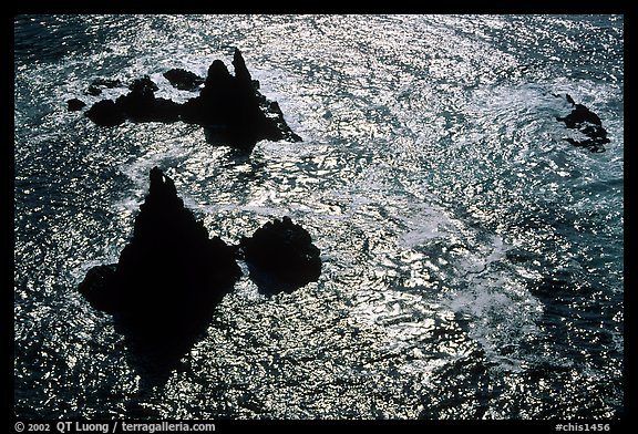 Pointed rocks and ocean, Cathedral Cove, Anacapa Island. Channel Islands National Park (color)