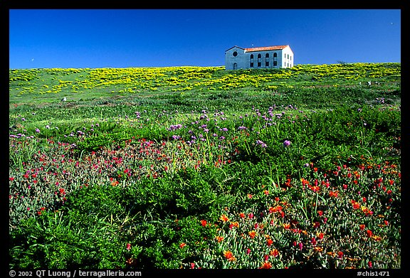 Water storage building with church-like facade, Anacapa. Channel Islands National Park, California, USA.