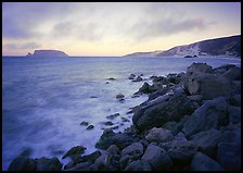 Boulders and coastline,  Cuyler Harbor, sunset, San Miguel Island. Channel Islands National Park ( color)
