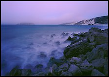 Prince Island and Cuyler Harbor with fog, dusk, San Miguel Island. Channel Islands National Park ( color)