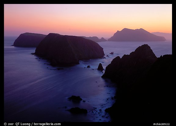 Sunset over island chain, Anacapa Island. Channel Islands National Park (color)