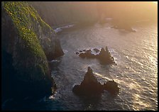 Cliffs and pointed rocks, Cathedral Cove, late afternoon, Anacapa Island. Channel Islands National Park ( color)