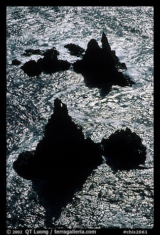 Backlit rocks and water, Cathedral Cove, Anacapa, late afternoon. Channel Islands National Park (color)