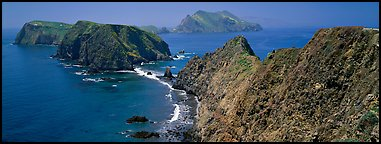 Sea cliffs from Inspiration Point, Anacapa Island. Channel Islands National Park (Panoramic color)
