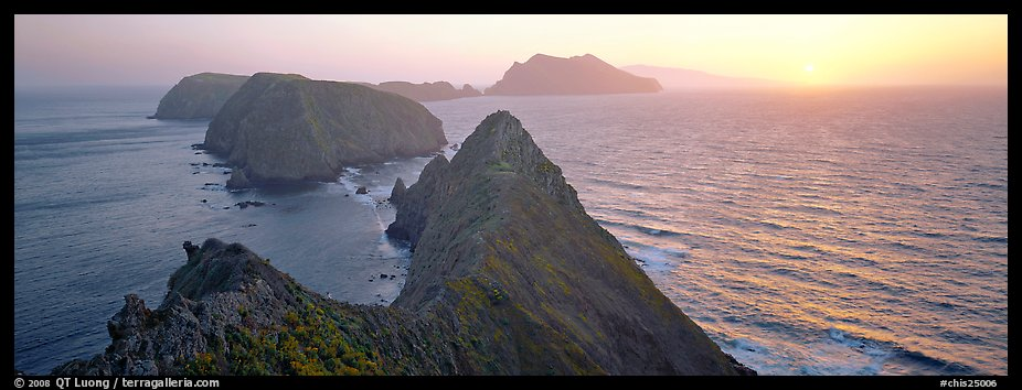 Spring sunset over ocean and islands, Anacapa Island. Channel Islands National Park (color)