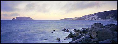 Marine landscape at sunset, San Miguel Island. Channel Islands National Park (Panoramic color)