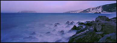 Coastal seascape at dusk, San Miguel Island. Channel Islands National Park (Panoramic color)