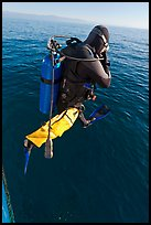Scuba diver jumping from boat. Channel Islands National Park, California, USA. (color)