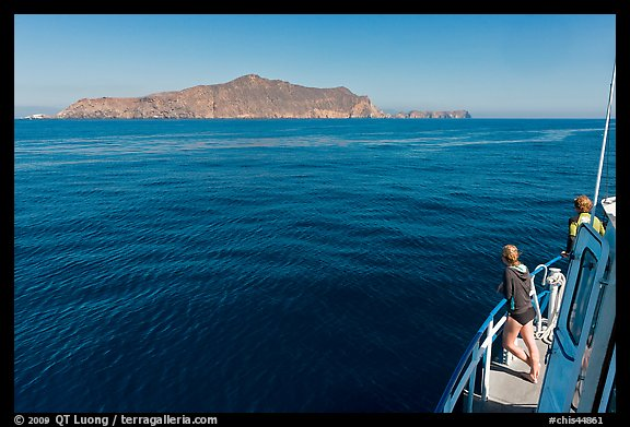 Woman on boat cruising towards Annacapa Island. Channel Islands National Park (color)