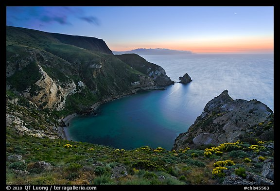 Twilight, Potato Harbor, Santa Cruz Island. Channel Islands National Park (color)