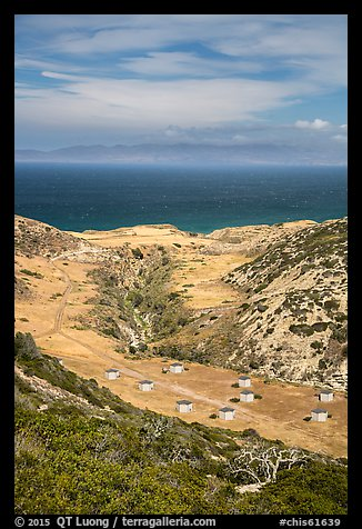 Water Canyon campground from above, Santa Rosa Island. Channel Islands National Park (color)