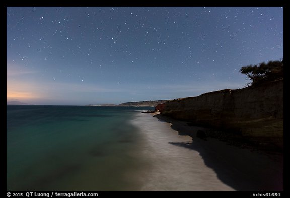 Bechers Bay under starry skies at night, Santa Rosa Island. Channel Islands National Park (color)
