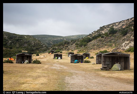 Tents pitched in wind shelters, Santa Rosa Island. Channel Islands National Park (color)