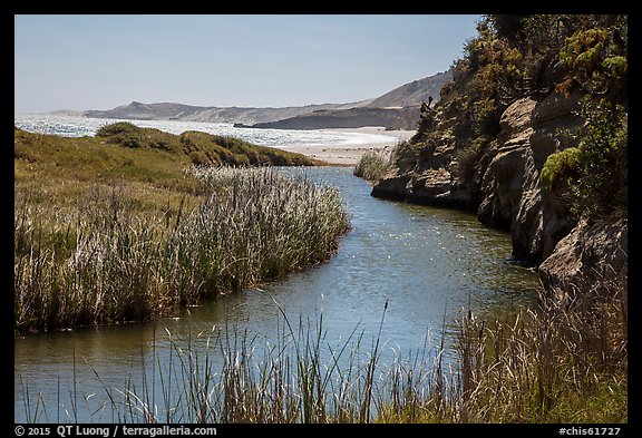 Stream at the mouth of Water Canyon, Santa Rosa Island. Channel Islands National Park (color)