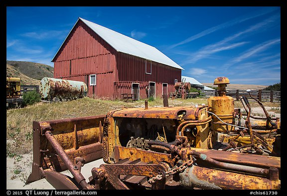 Agricultural machines and barns, Santa Rosa Island. Channel Islands National Park (color)
