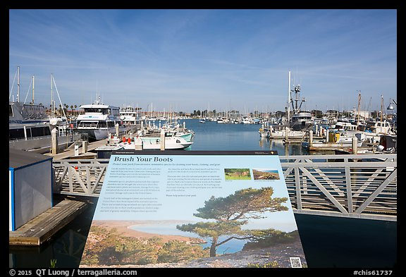 Invasive species interpretive sign, Ventura Harbor. Channel Islands National Park (color)