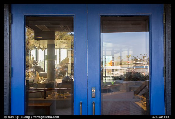 Ventura Harbor visitor center window reflexion. Channel Islands National Park (color)