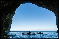 Looking out sea cave with group of kayakers, Santa Cruz Island. Channel Islands National Park ( color)