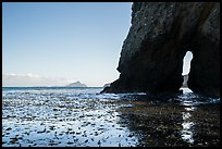 Sea arch, West Anacapa in the distance, Santa Cruz Island. Channel Islands National Park ( color)
