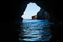 Sea cliffs framed by sea cave, Santa Cruz Island. Channel Islands National Park ( color)